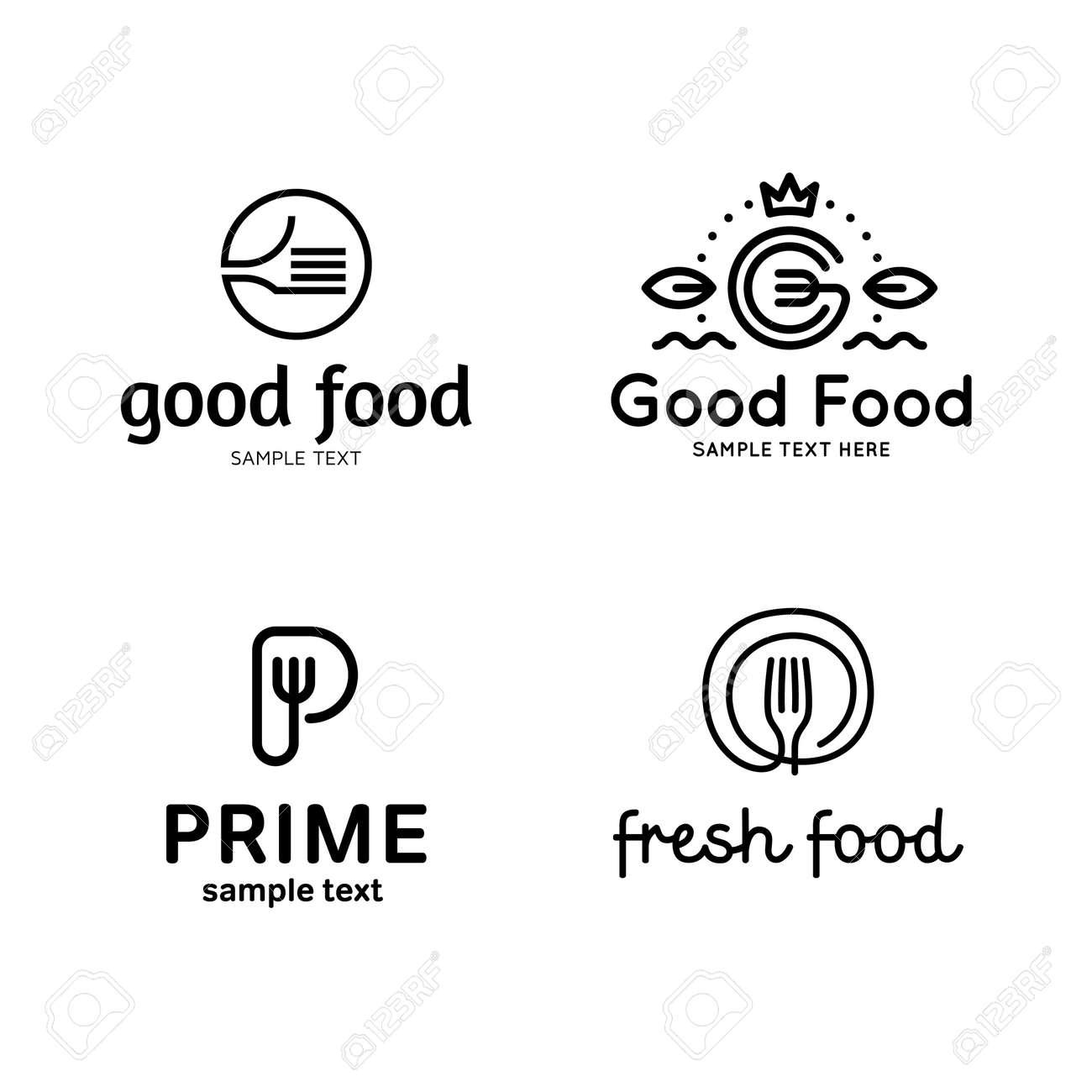 Good food logo design template set  Vector fork illustration
