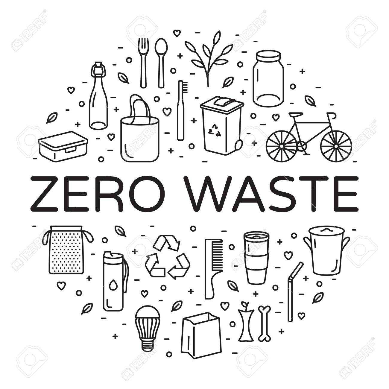 Vector Zero Waste logo design template set. Linear icon illustration of Refuse Reduce Reuse Recycle Rot. No Plastic and Go Green background in circle form. Ð•co lifestyle sign and symbol collection - 109825314