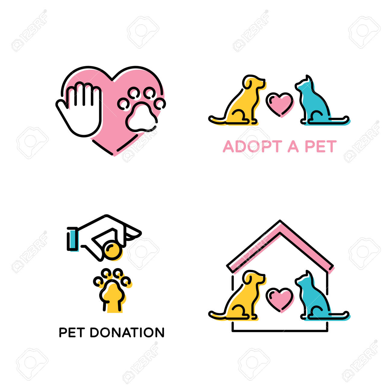 Vector Pet Love Design Poster Set Color Animal Banner Illustrations Royalty Free Cliparts Vectors And Stock Illustration Image 116950045