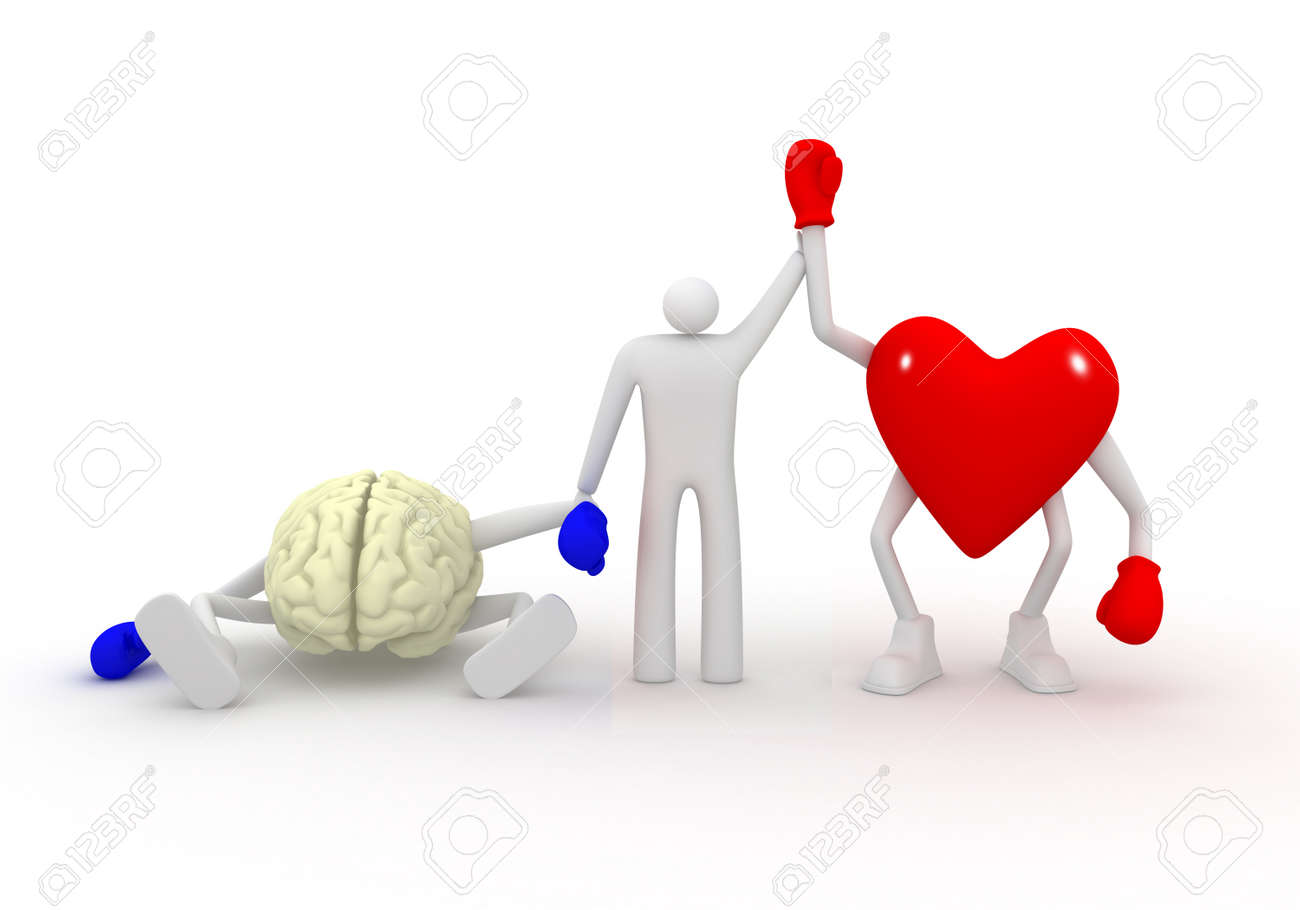 Heart win fight with mind Stock Photo - 17308735