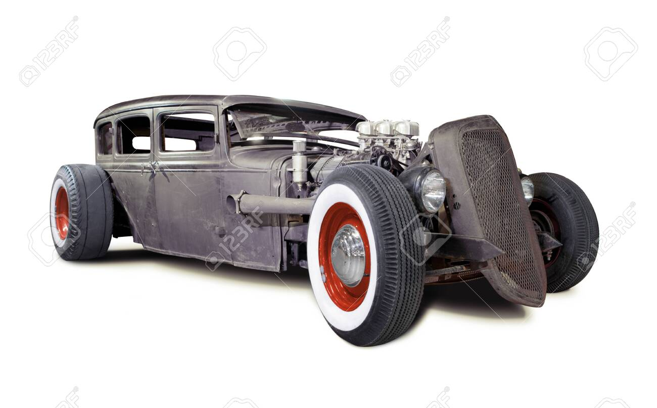 Old Rusty Rat Rod isolated on white - 146476761