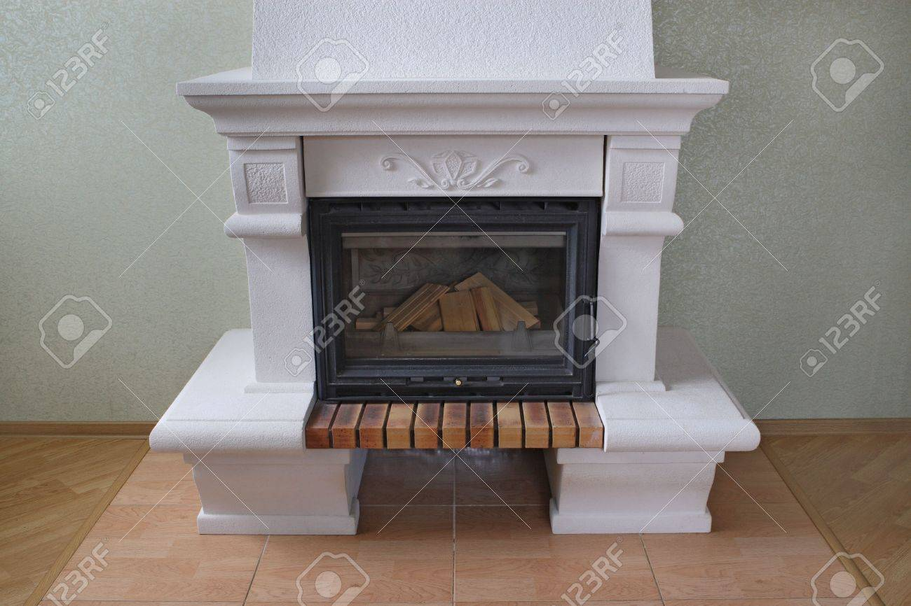 Fireplace Without Fire In The Living Room Stock Photo Picture And