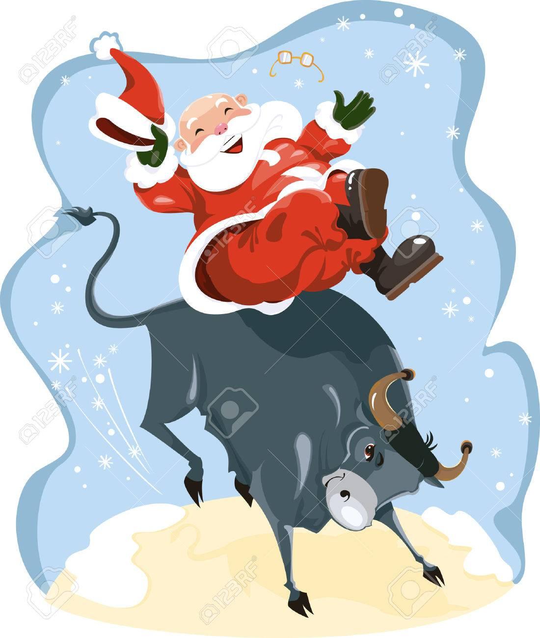 Funny cartoon displayed Santa on rodeo - 5808044
