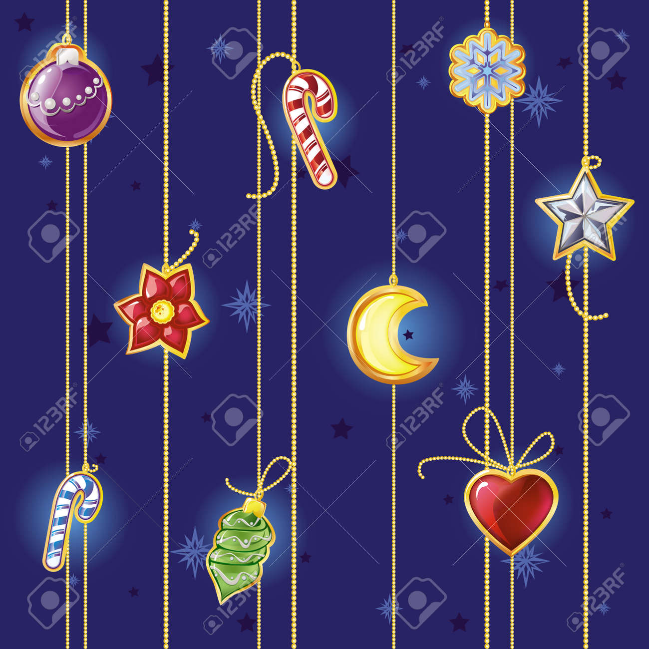 Vector seamless pattern with Christmas decorations - 5808050