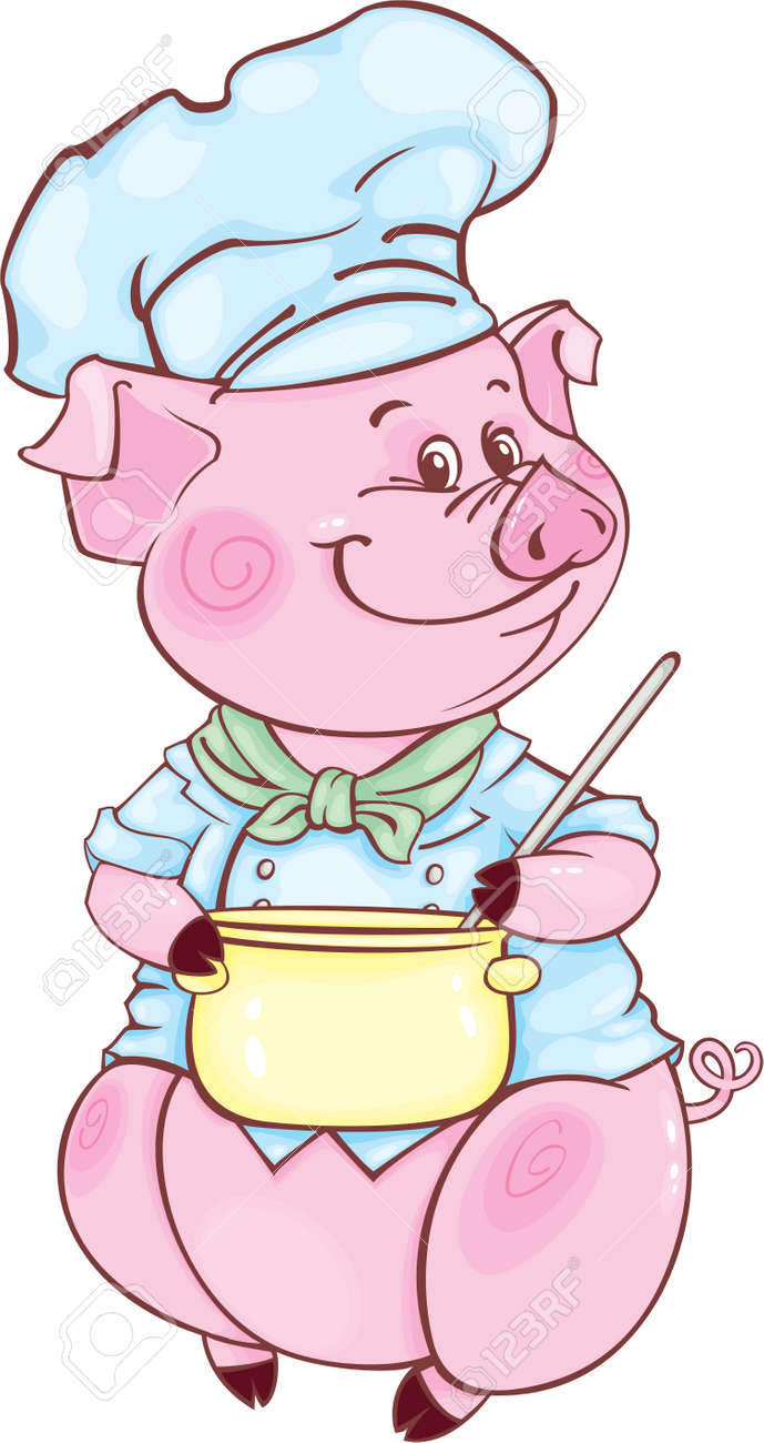 Funny piggy may be used as your corporate character - 6105831