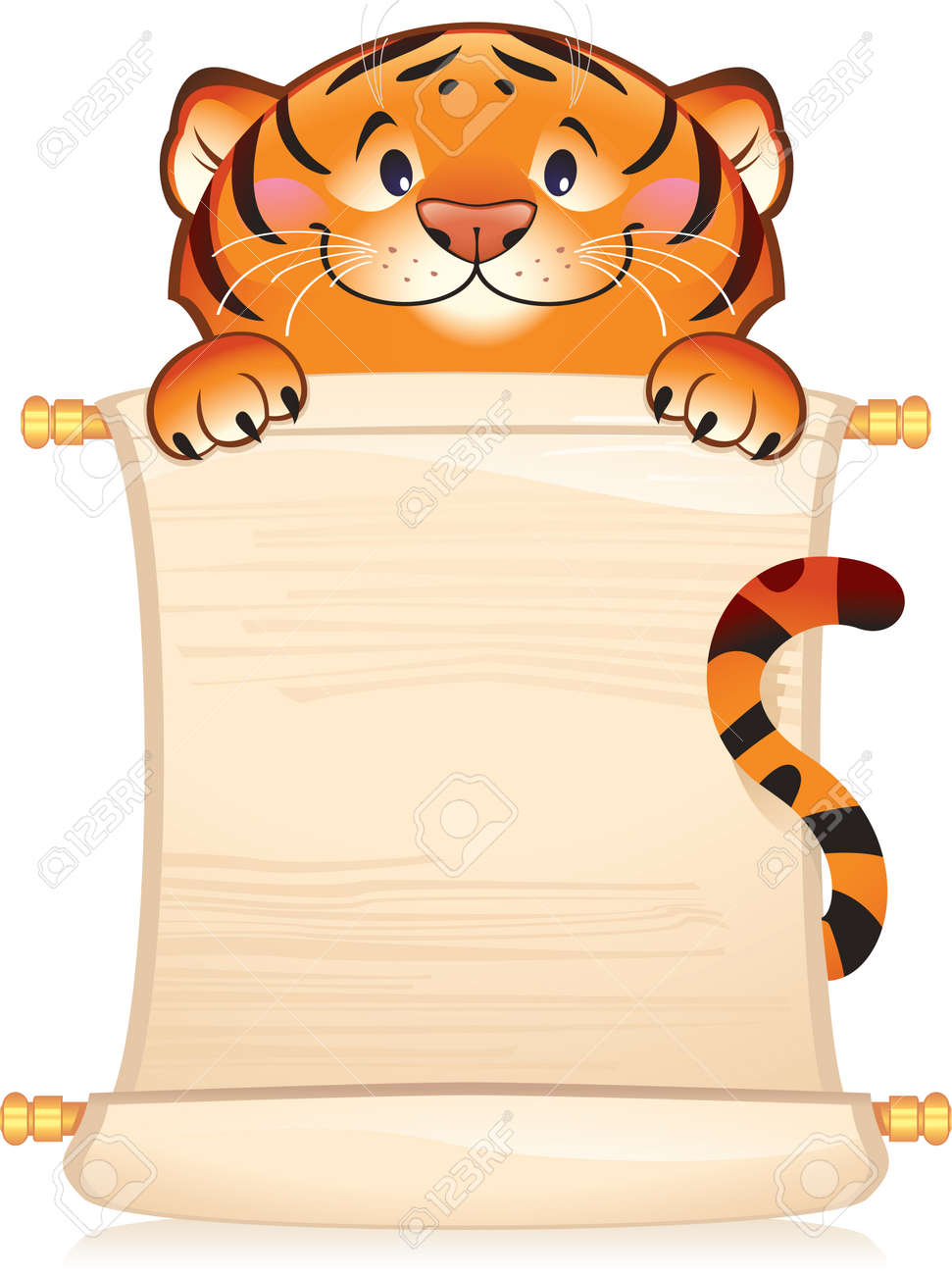 Tiger with scroll - 6138219