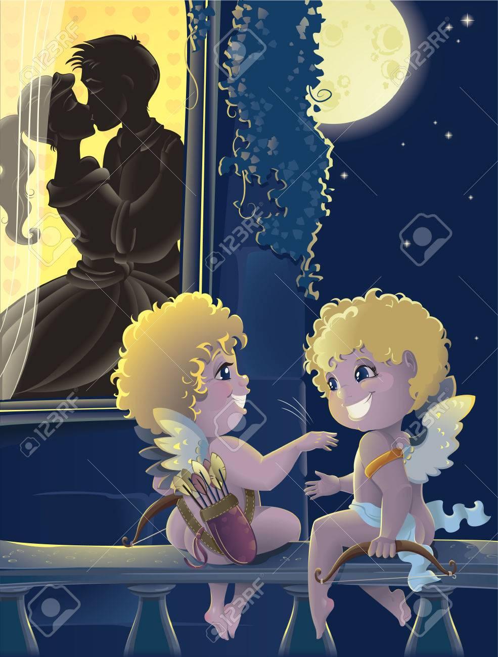 St.Valentine day. Cartoon with Cupids - 6301426