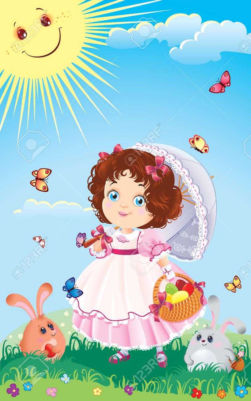 Easter greeting card with cute little girl on a walk. - 6389326