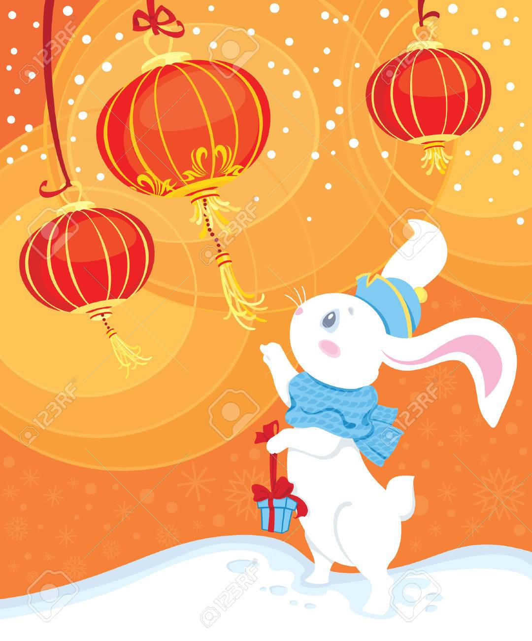 white rabbit and Chinese lanterns - 8360480