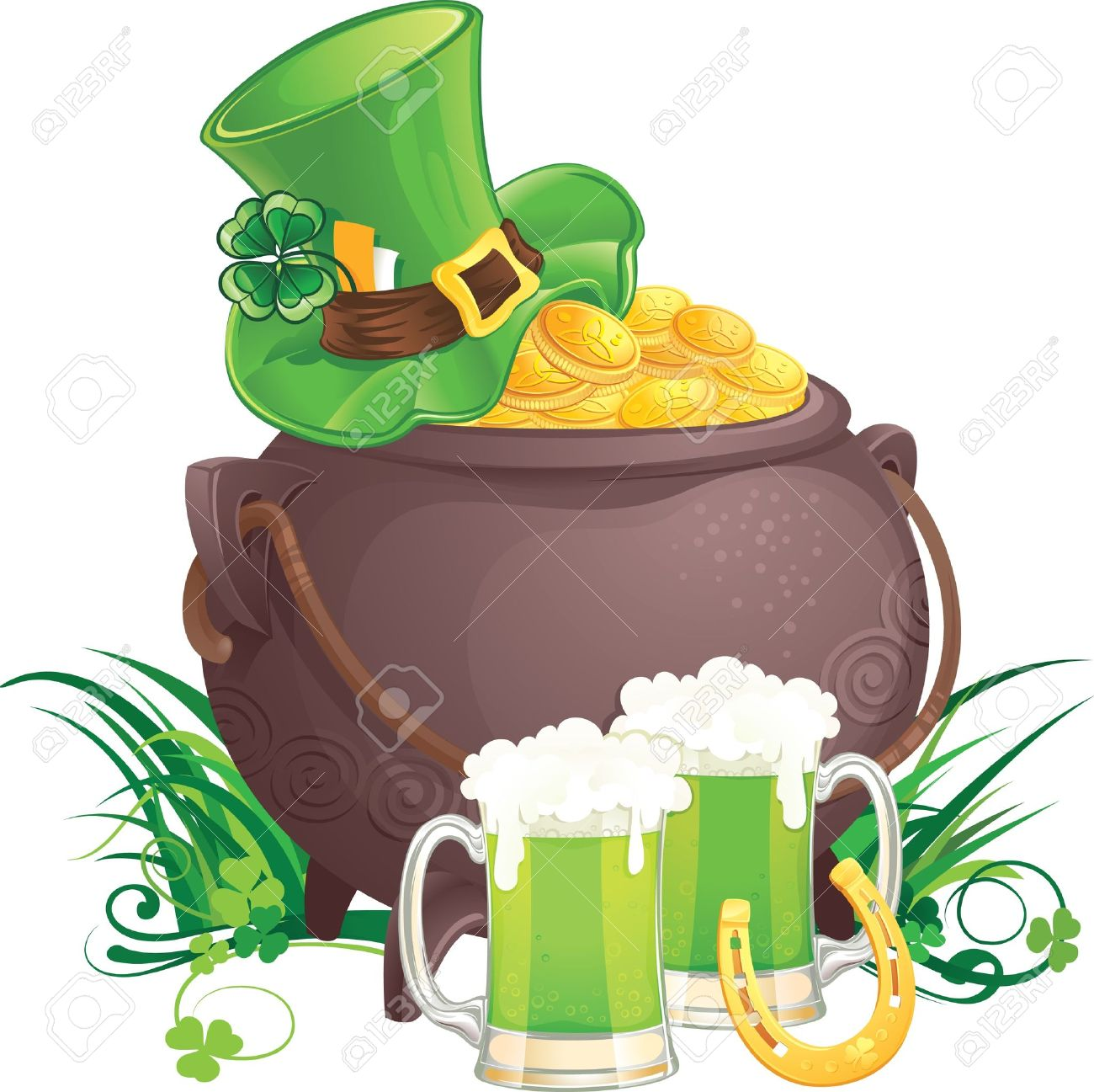 The mythical pot of gold, leprechaun hat and green beer for Saint Patrick Day. - 8790570