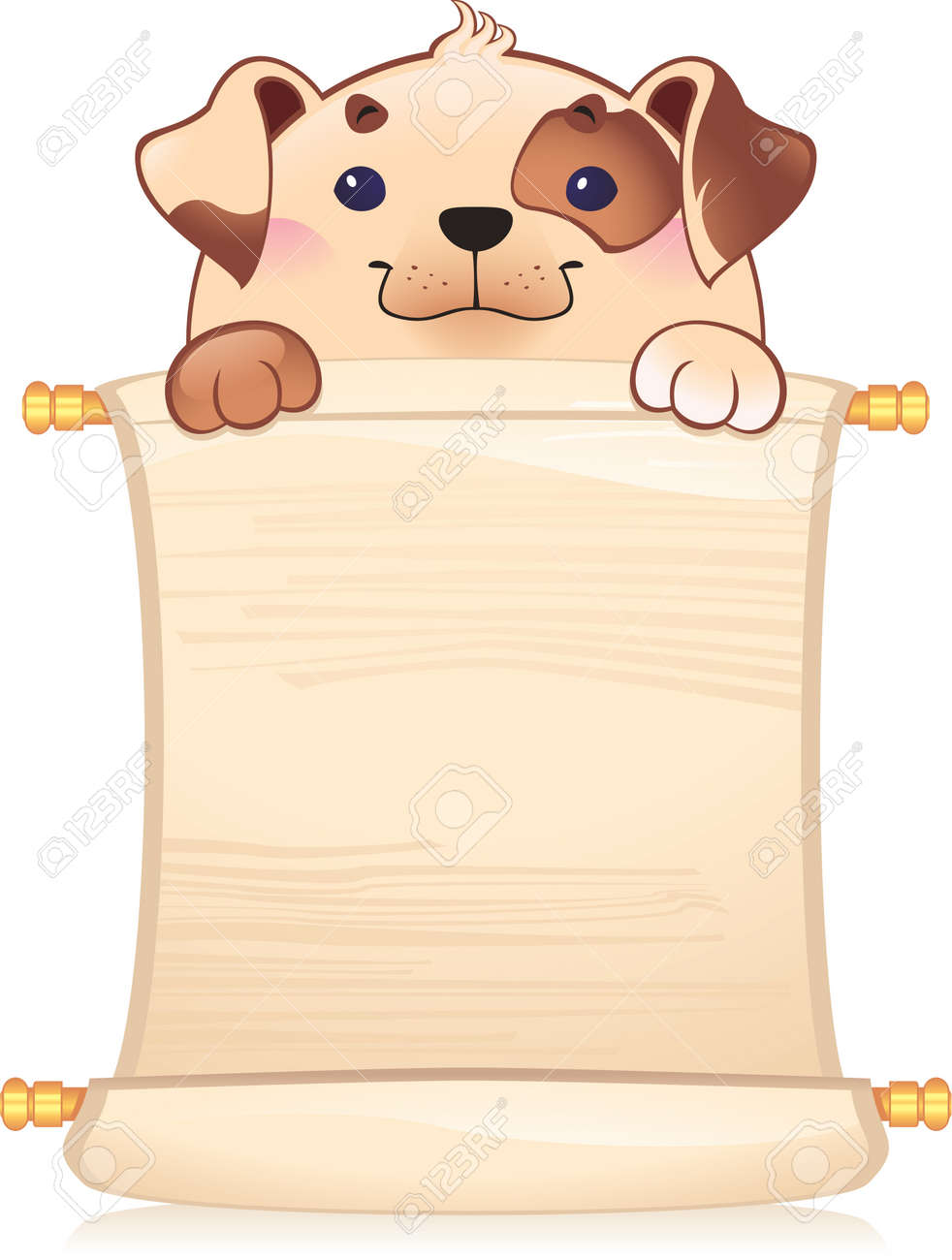 Dog with scroll Stock Vector - 8912618