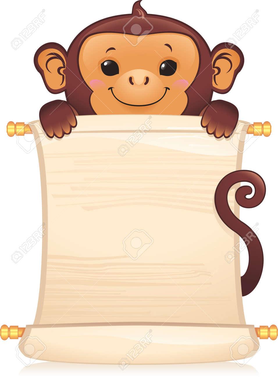 Symbol of Chinese horoscope - monkey with scroll - 8912622