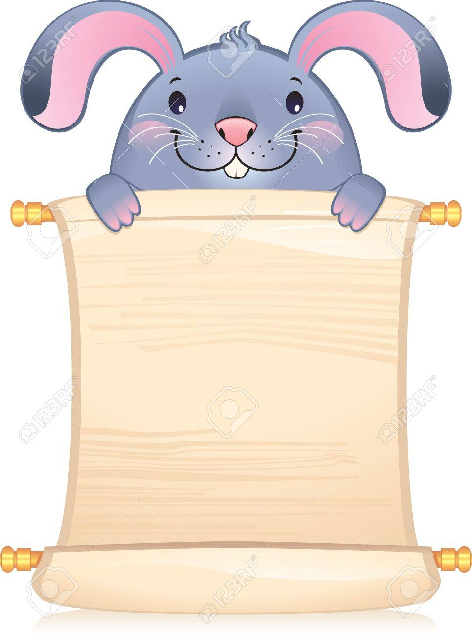 Rabbit with scroll - symbol of Chinese horoscope - 8912620