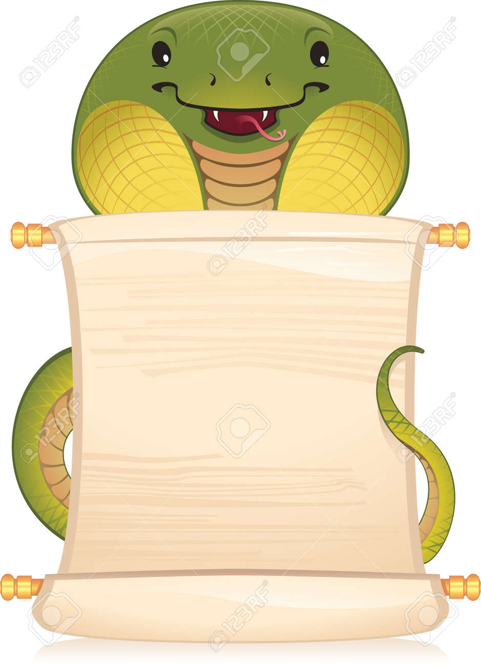 Snake with scroll - symbol of Chinese horoscope - 8912630