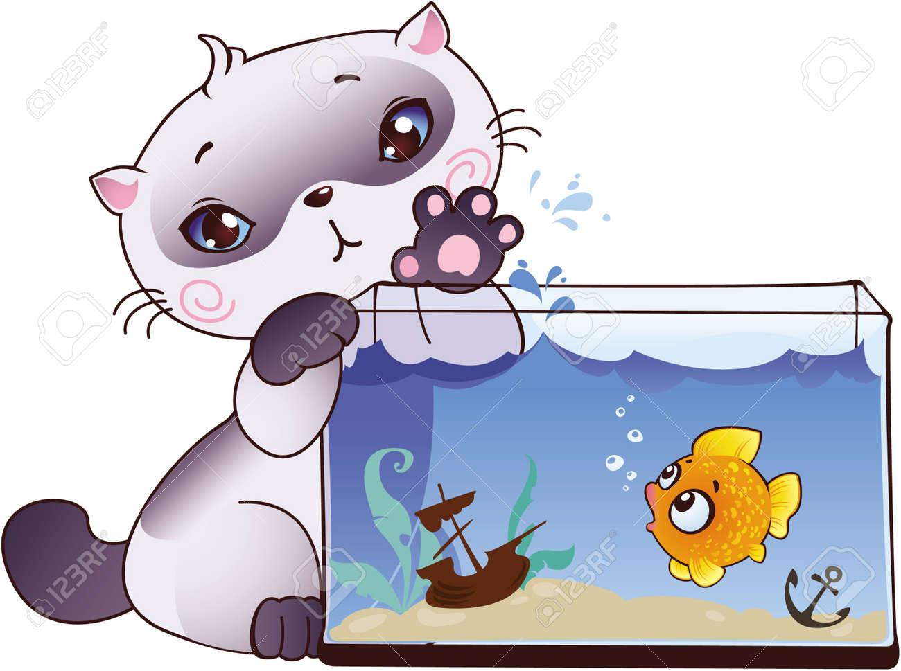 Kitten and fish Stock Vector - 8912593