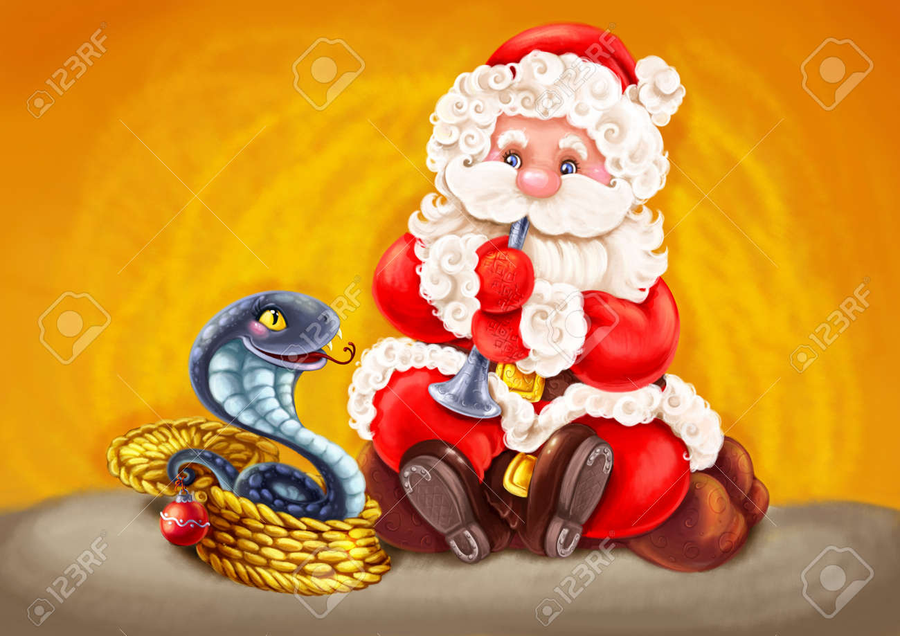 Illustration with symbols of Christmas and Chinese New Year Stock Photo - 16712381