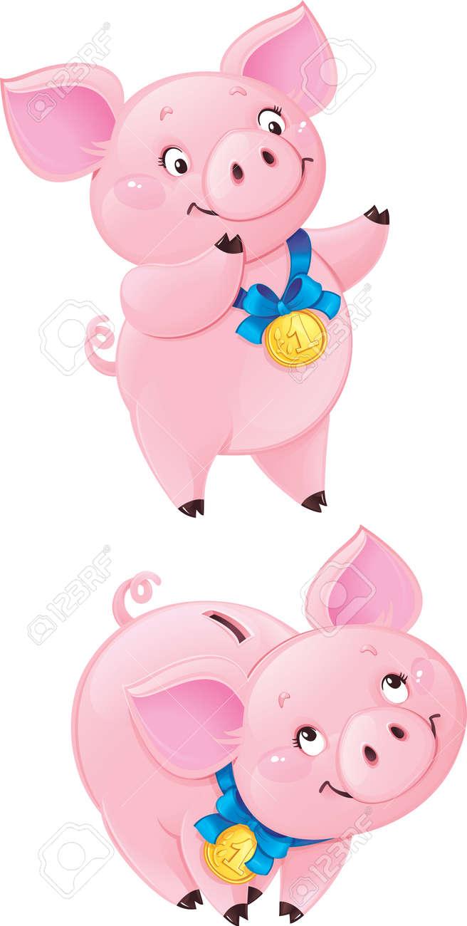 Funny piggy bank Stock Vector - 17381691