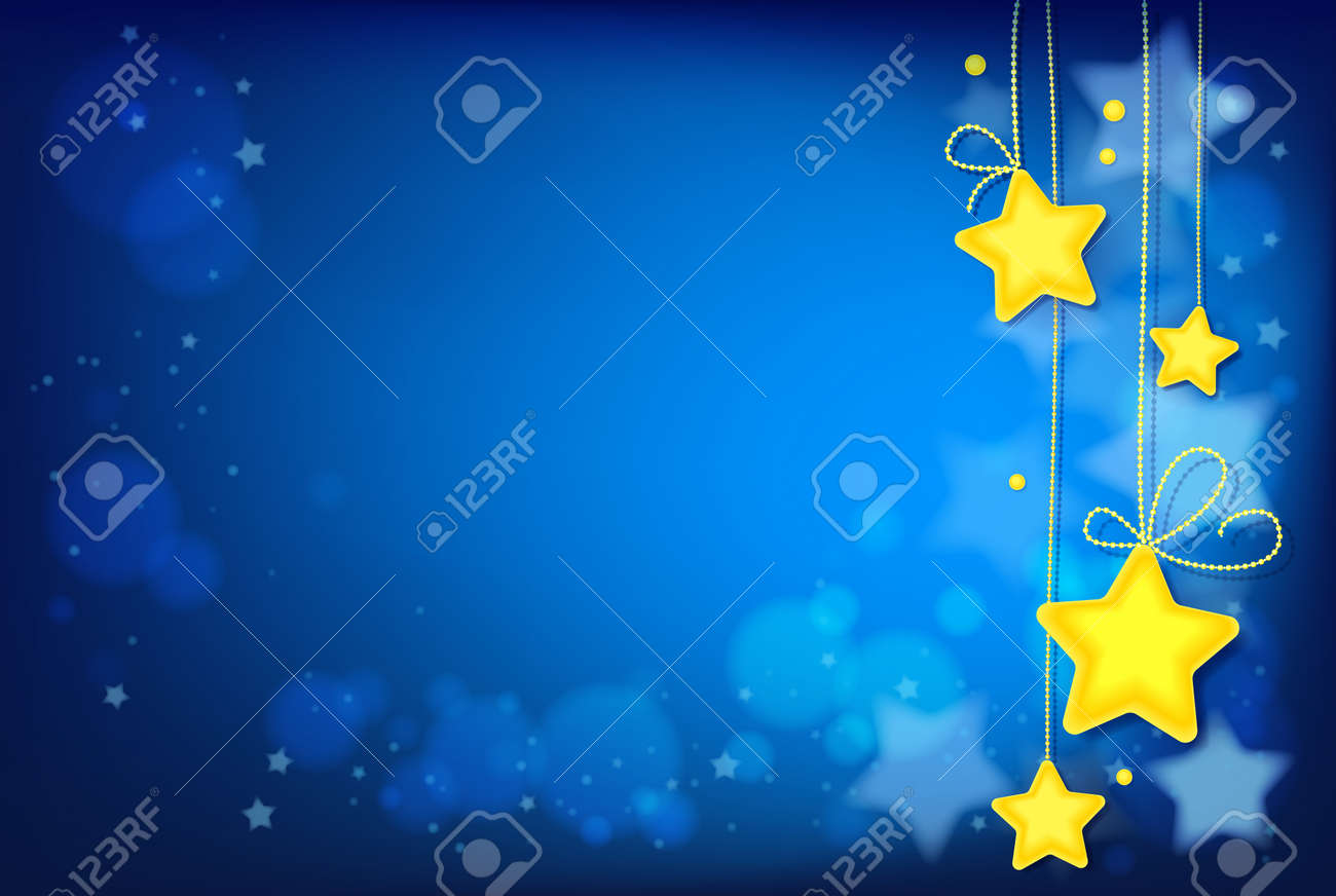 Shining Magic Stars on Dark Blue Background. Image contains gradients, transparencies, blends, blending modes, gradient meshes. EPS 10 - 97057039
