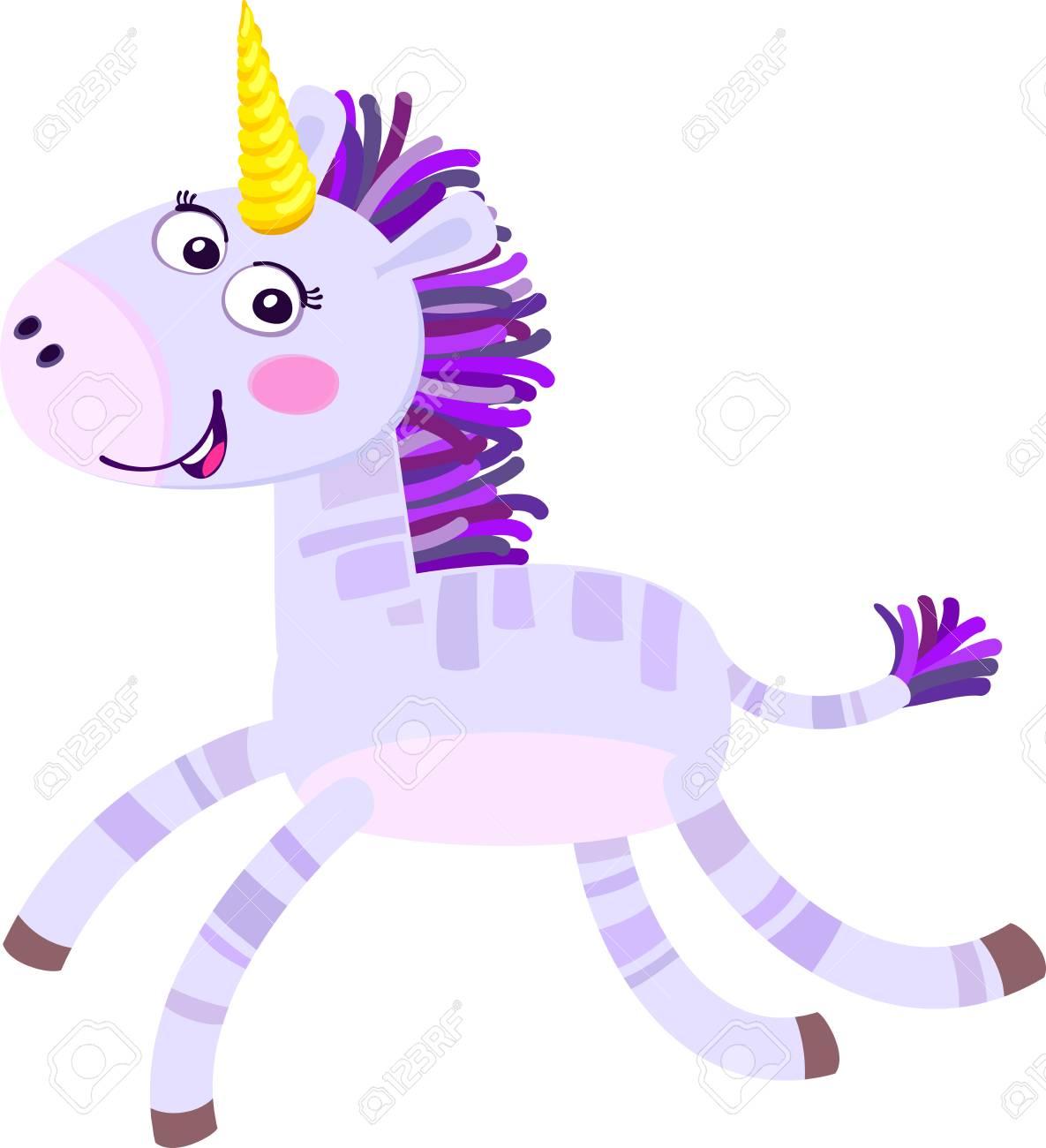 Cute cartoon unicorn on Flat vector illustration isolated on light background. - 100074171