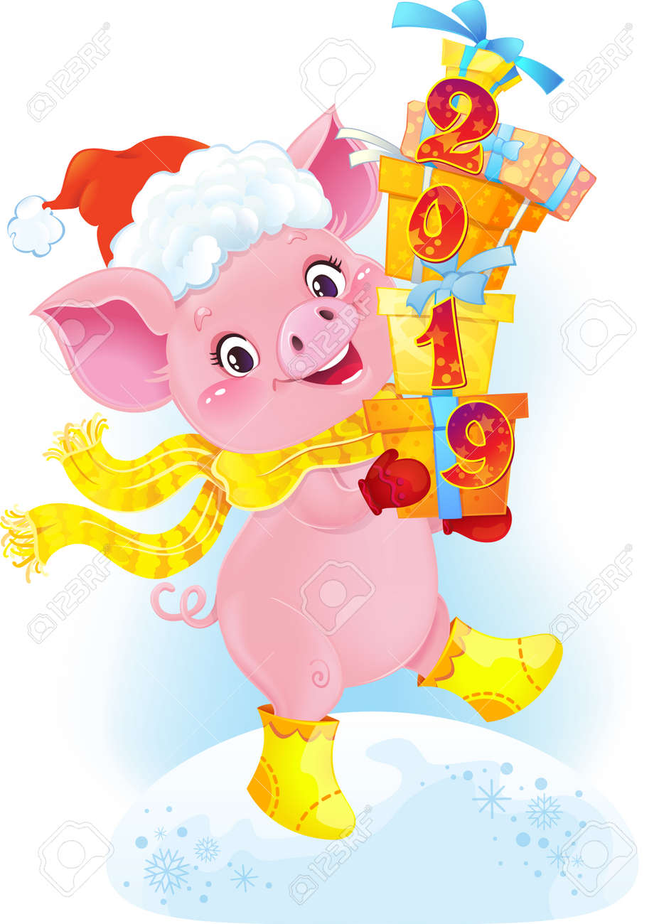 Yellow Earthy Pig with Gift Boxes. Cute Symbol of Chinese Horoscope. Cute Piglet for the Chinese New Year. Pig is a symbol of the approaching New 2019 year. Symbol of Chinese horoscope.Happy 2019 New Year card. Funny piglet congratulates on holiday.Image contains gradients, transparency, blending modes, meshes. - 111999538