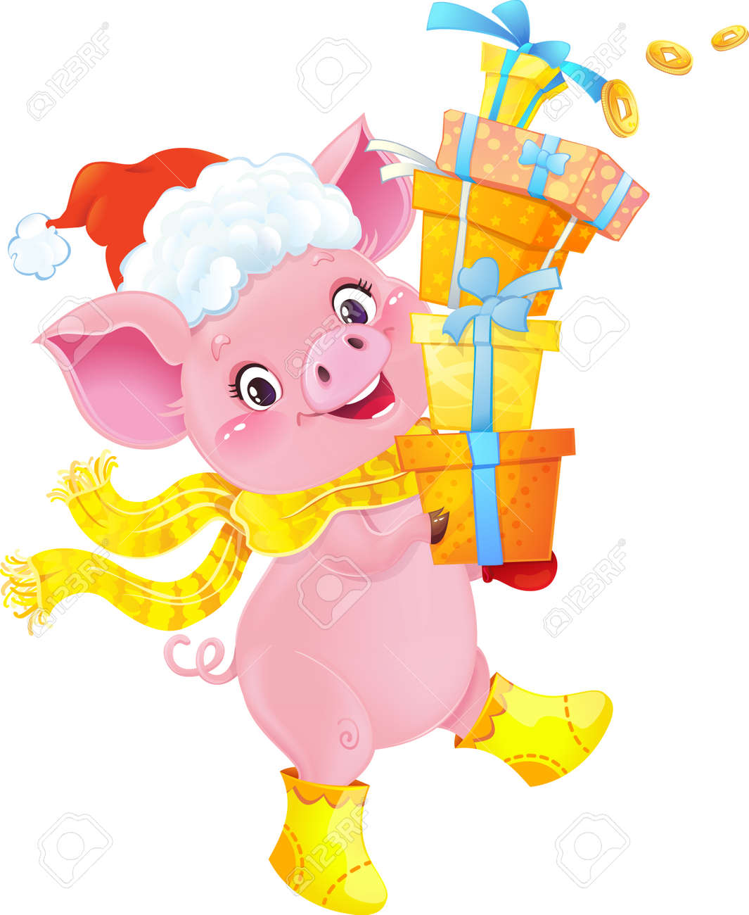 Yellow Earthy Pig with Gift Boxes. Cute Symbol of Chinese Horoscope. Cute Piglet for the Chinese New Year. Pig is a symbol of the approaching New 2019 year. Symbol of Chinese horoscope.Happy 2019 New Year card. Funny piglet congratulates on holiday. Image contains gradients, transparency, blending modes, meshes. - 111999556