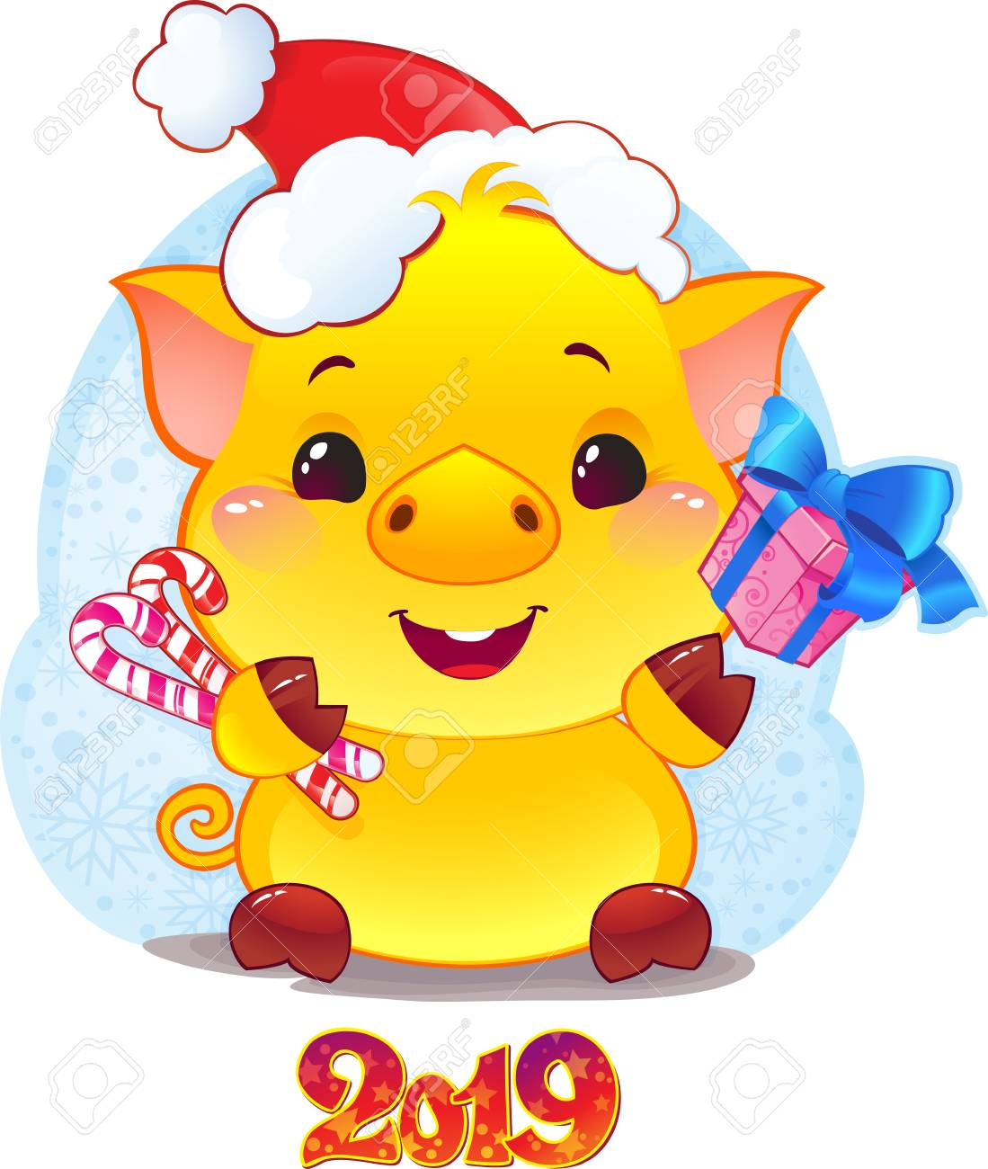 Yellow Earthy Pig Boxes For The New Year 2019. - 111999544