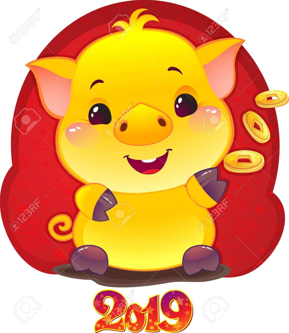 Yellow Earthy Pig Coat for the New Year 2019. Cute Symbol of Chinese Horoscope. - 111999546