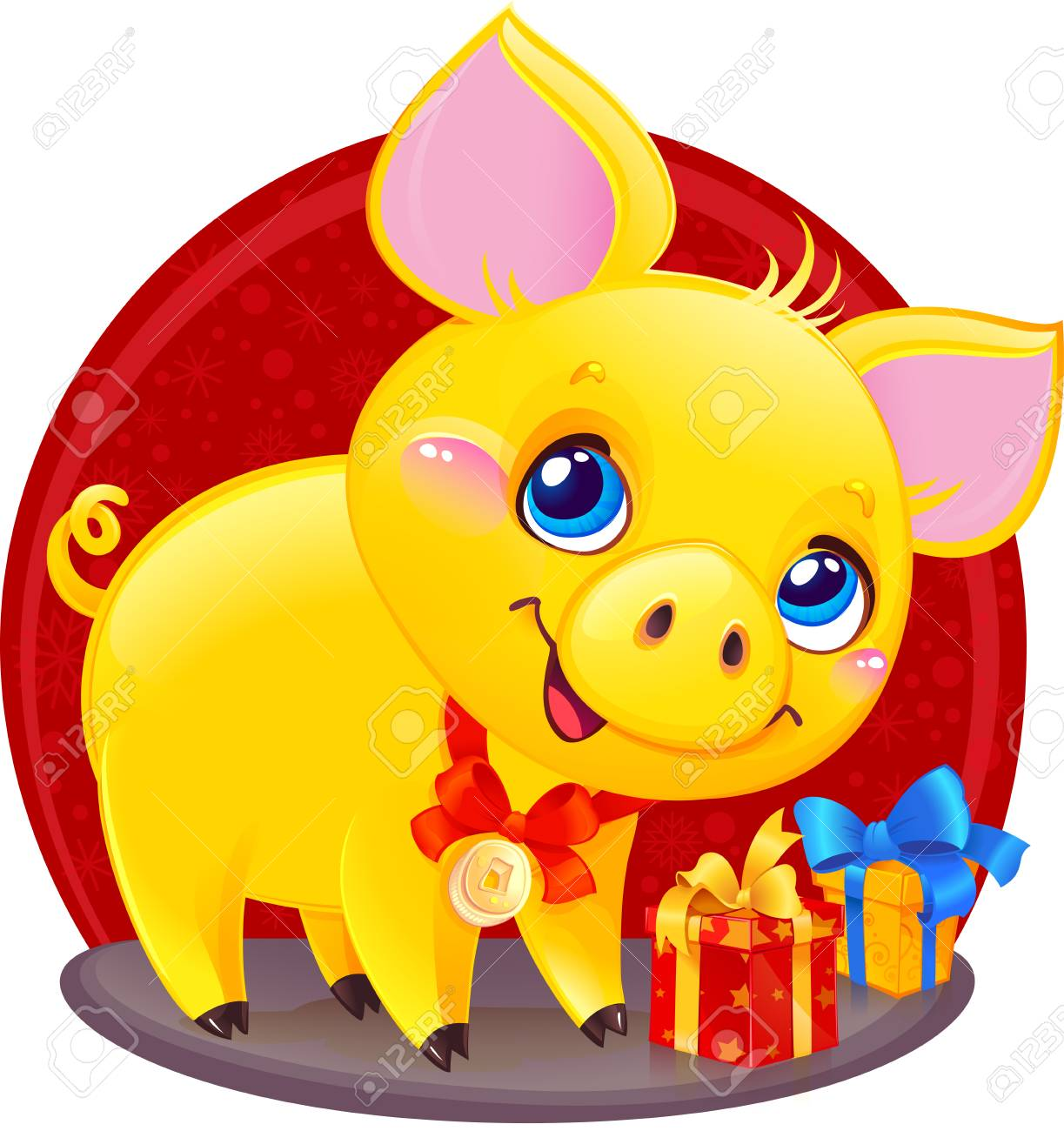 Yellow Earthy Pig for the New Year 2019. Cute Symbol of Chinese Horoscope. - 111999551