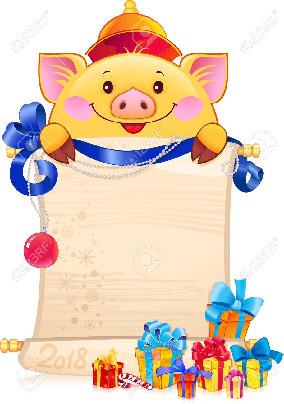 Yellow Earthy Pig for the New Year 2019. Symbol of Chinese horoscope - pig with a scroll. Illustration with a copyspace. - 111999553