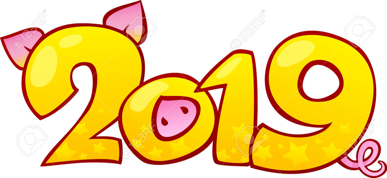Happy Chinese new year 2019. Earthy Pig is a Symbol of the New 2019 Year. - 117169144