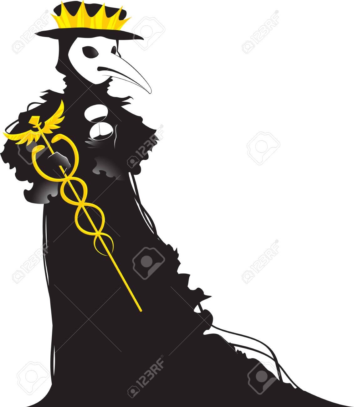Coronavirus stylized as a black Venetian plague doctor. - 142201976