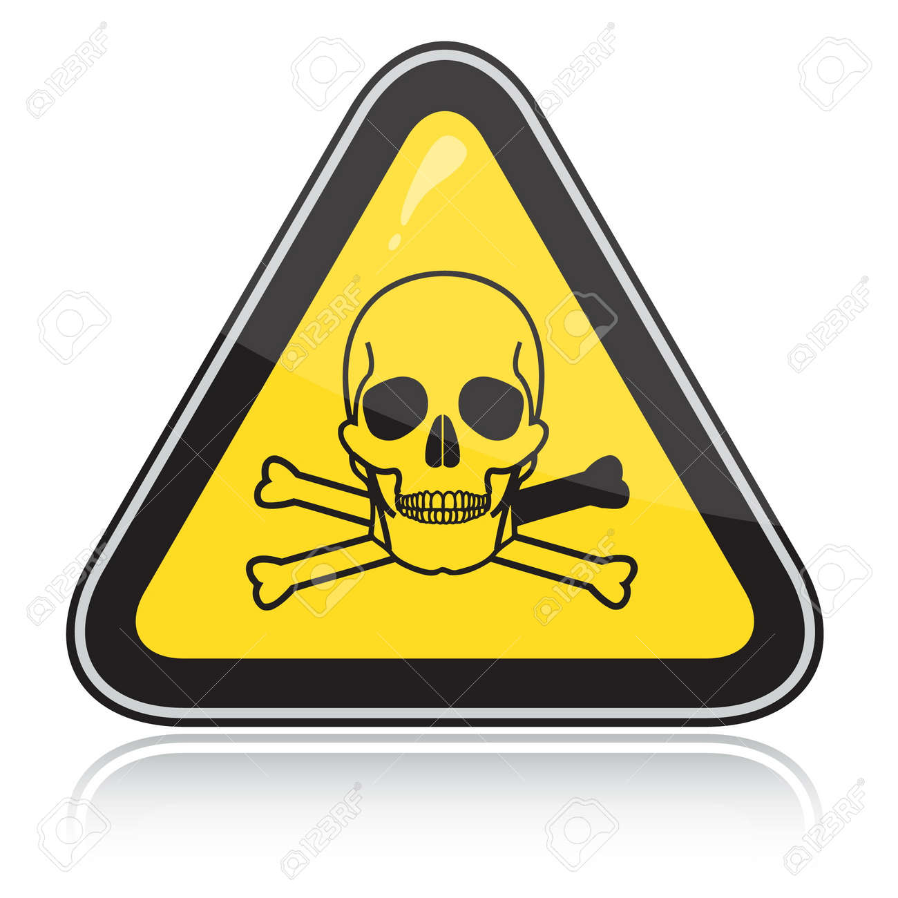Yellow triangular warning sign with a skull. Attention toxic, poison. Stock Vector - 6245702