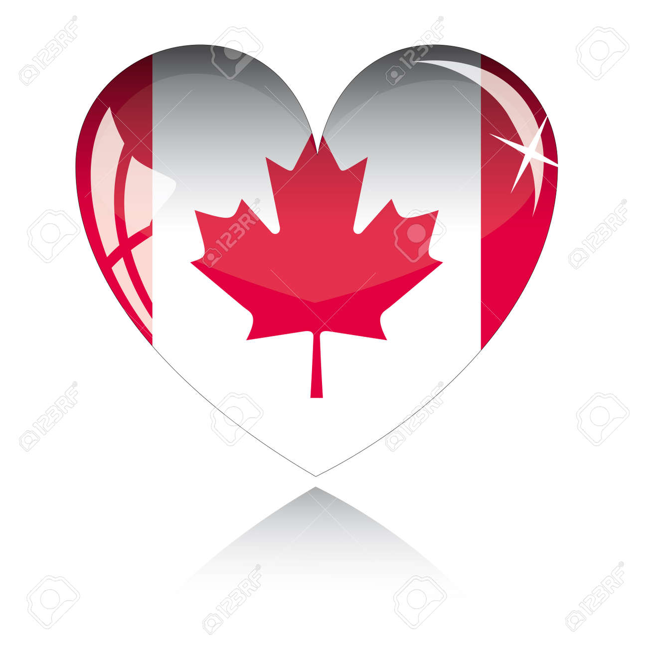 heart with canada flag texture isolated on a white background