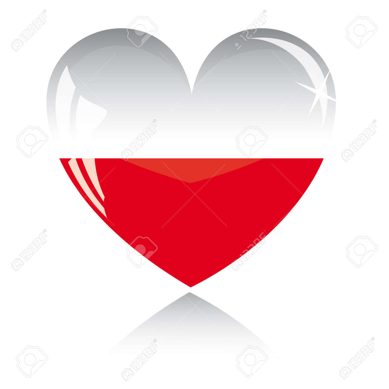 heart with poland flag texture isolated on a white background