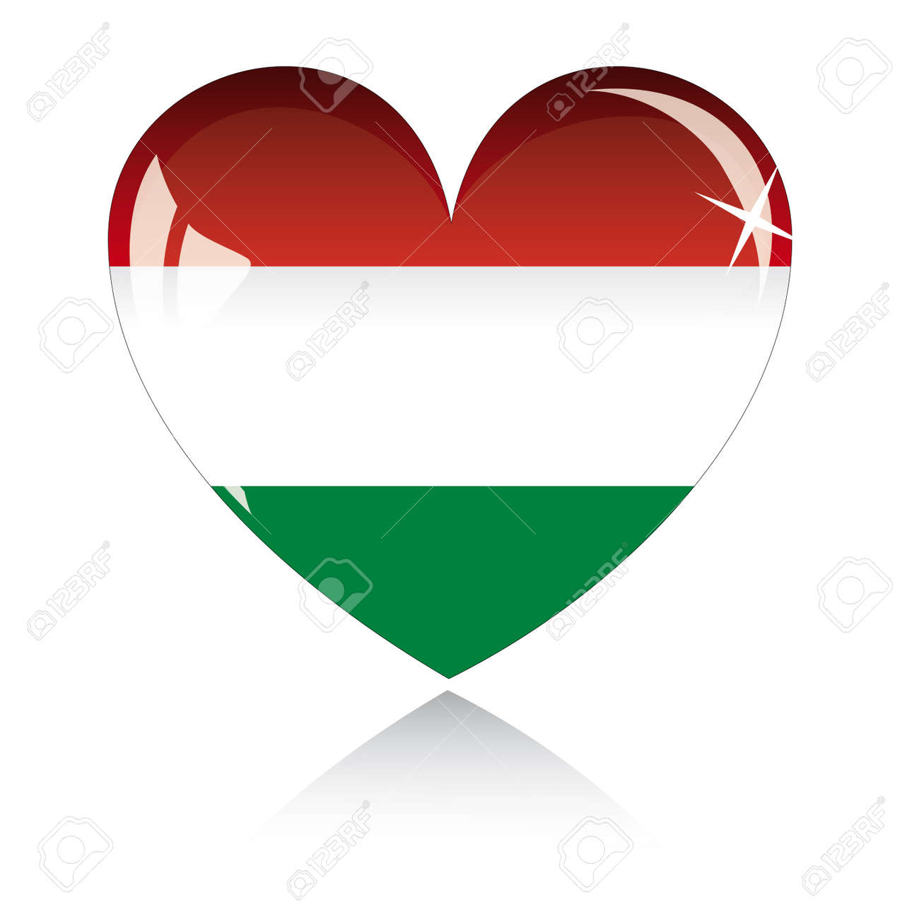 heart with Hungary flag texture isolated on a white background. Stock Vector - 6245777