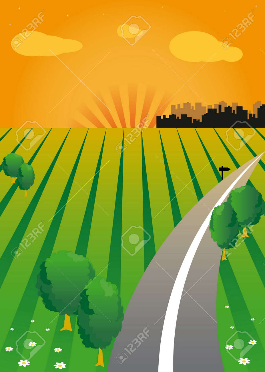 sunset and the green valley. Road. The contours of the city on the horizon. Stock Vector - 6485408