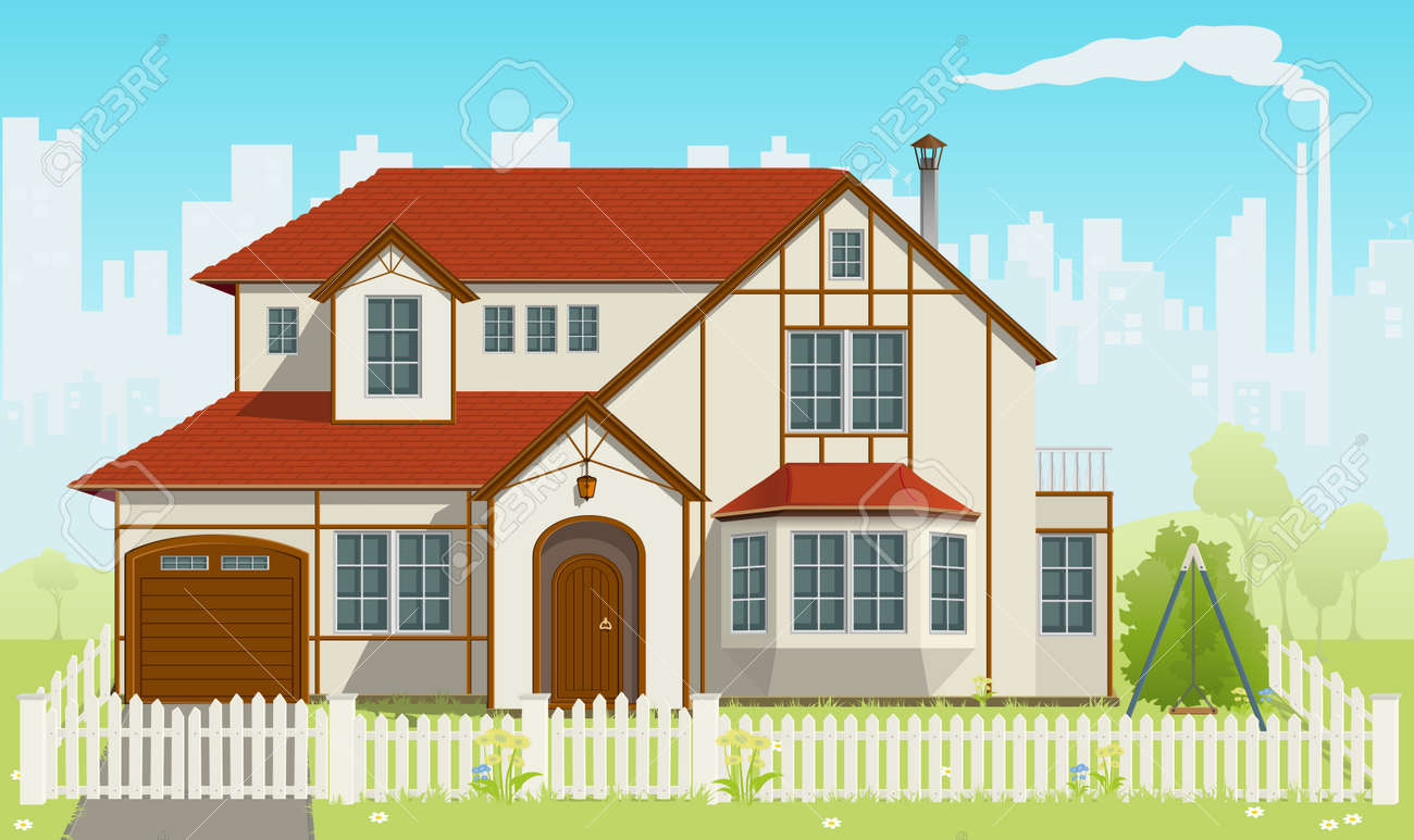 Family House and green grass.  illustration. EPS8 Stock Vector - 7640792
