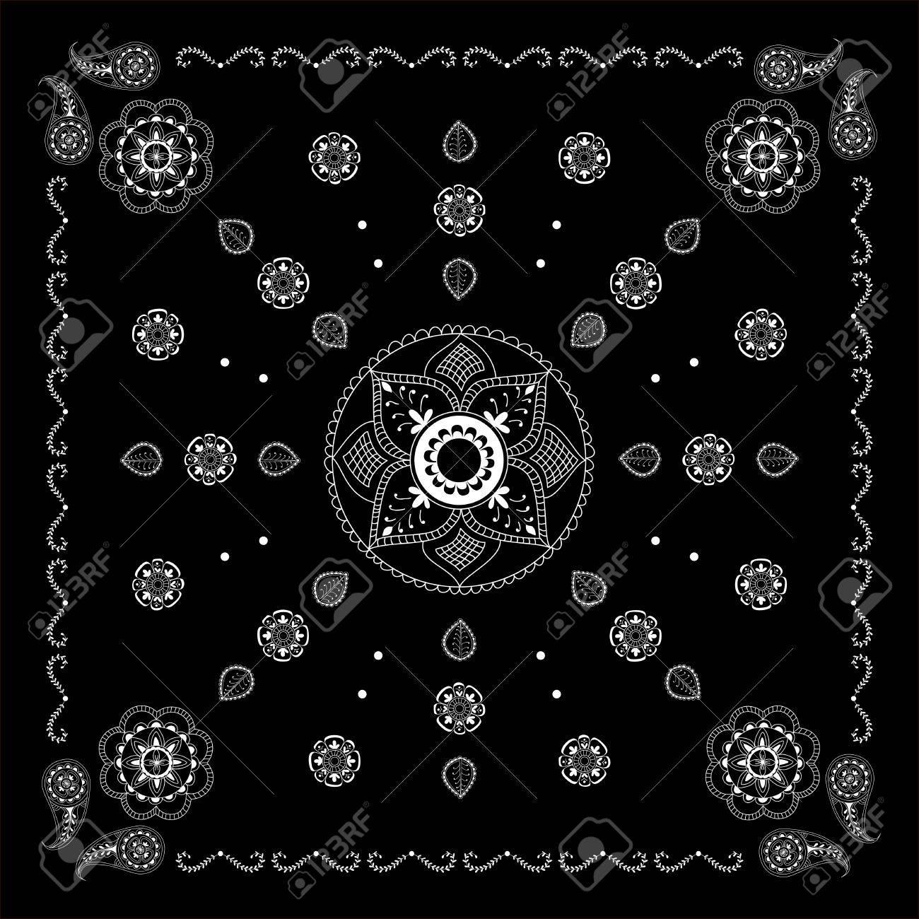 49c47952 Impresión bandana abstracto blanco y negro con un estilo elemento de henna.  Pañuelo patrón de diseño cuadrado. Diseño para la bufanda de cuello ...