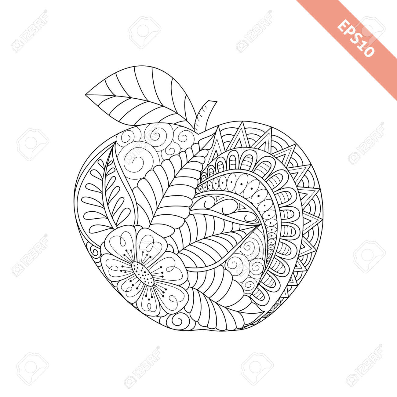Vector Illustration Cartoon Ornate Apple. Coloring Book Page Royalty ...