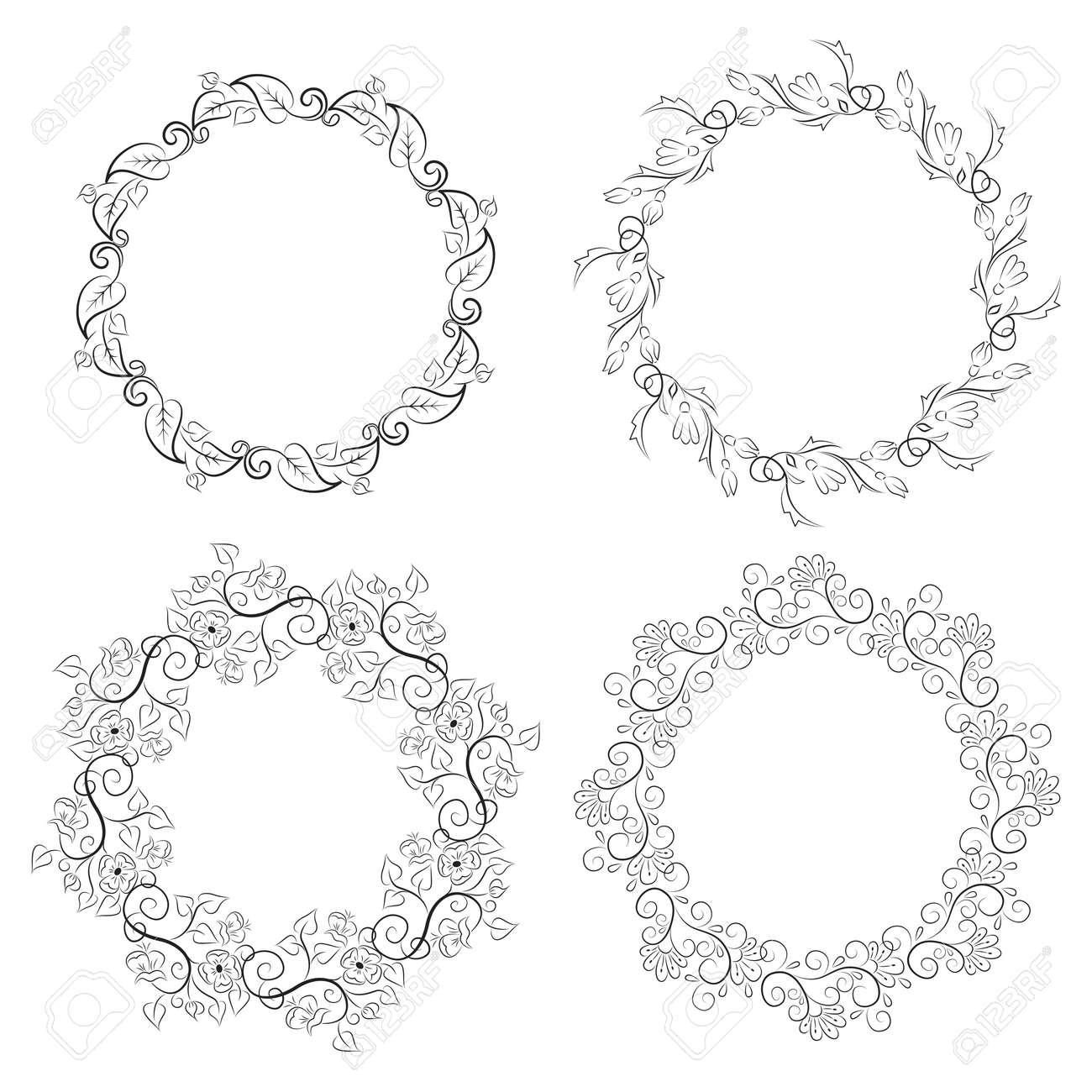 Floral Vintage Runde Rahmen Sammlung. Dekorative Romantische Für Ihr ...