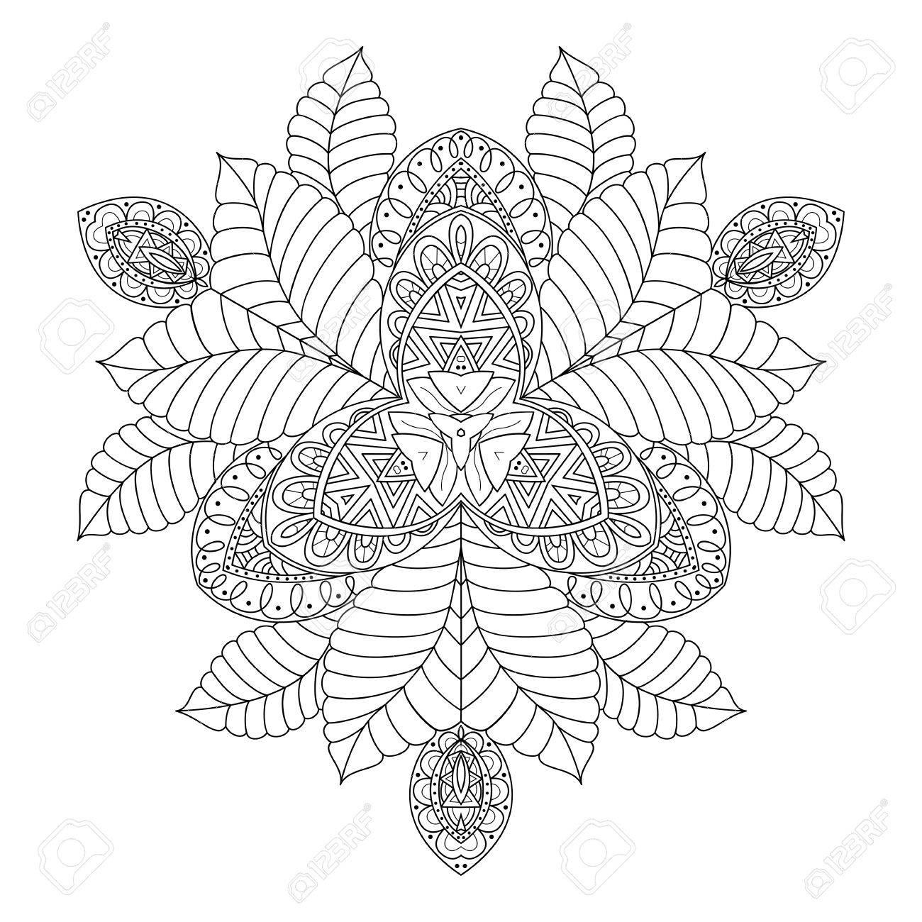 Ronda Adorno Floral Abstracto. Mandala. Fondo, Cubierta. Diseño De ...