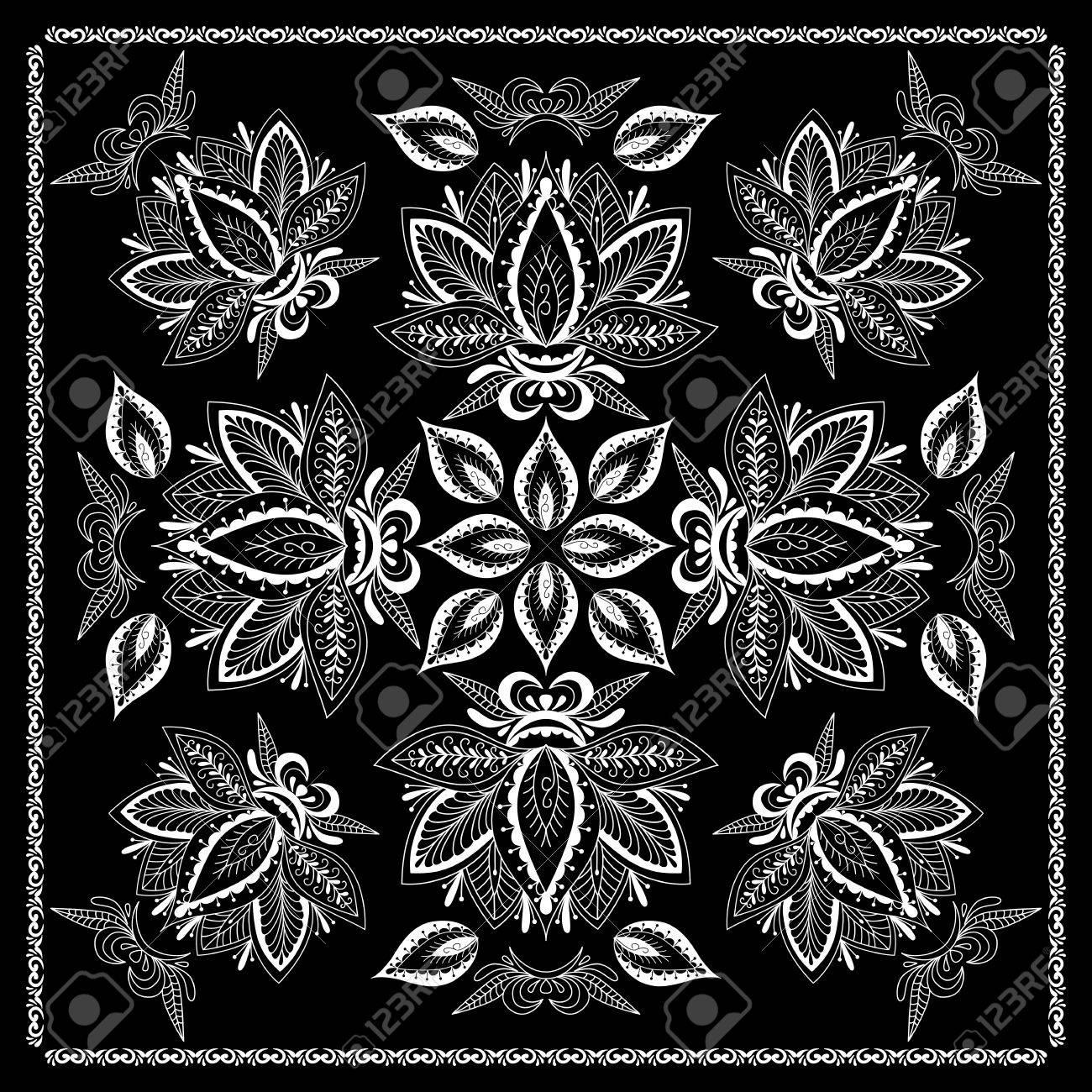 Noir Et Blanc Abstrait Imprime Bandana Avec Un Style Element De Henne Design Pattern Square Pour Oreiller Tapis Tapis Design For Foulard De Soie