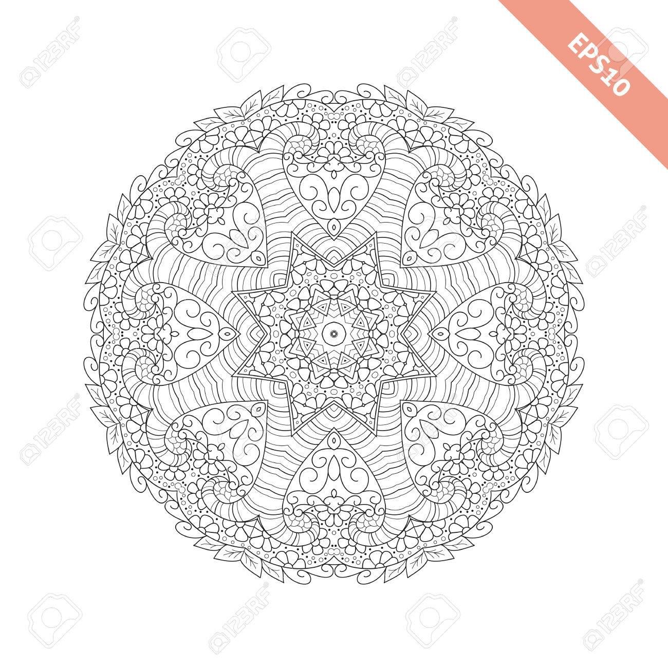 Ornamento Redondo Abstracto. Mandala. Fondo, Cubierta. Diseño De ...