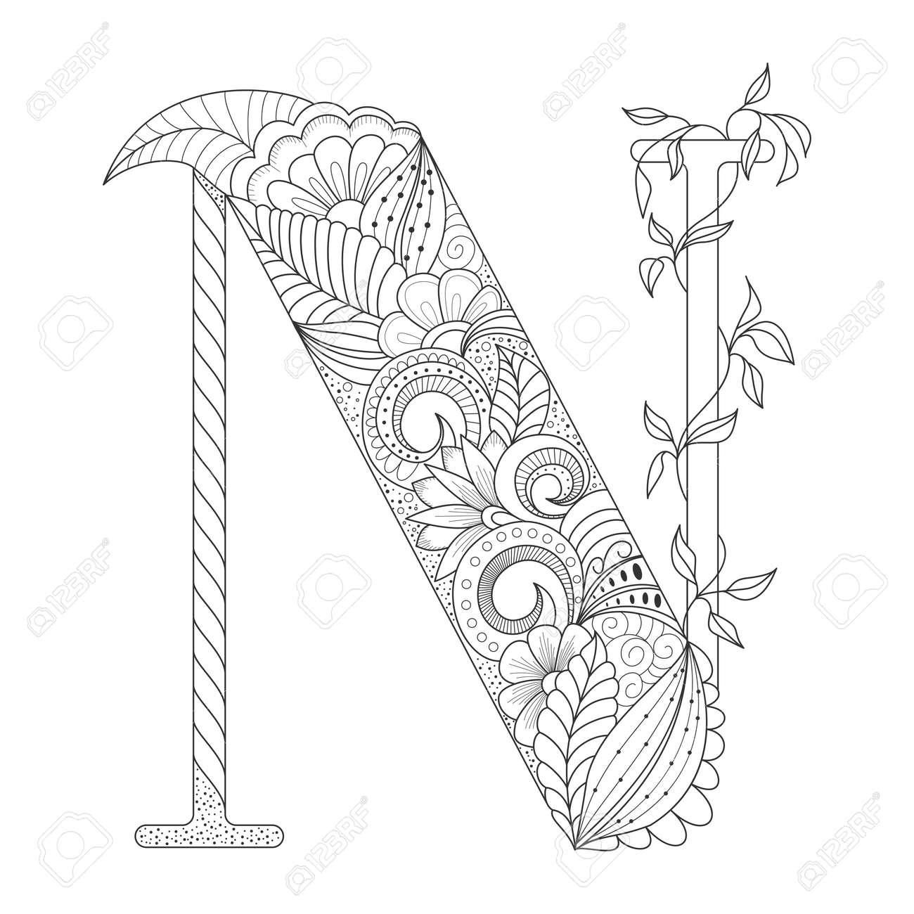 Línea De Negro Letra N Con Adornos Florales Del Doodle Dibujo Para Colorear Ilustración Vectorial Para Tatuaje Elemento Decorativo
