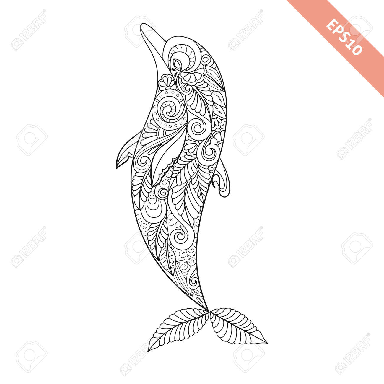 Vector Illustration Cartoon Dolphin With Floral Doodle Ornament