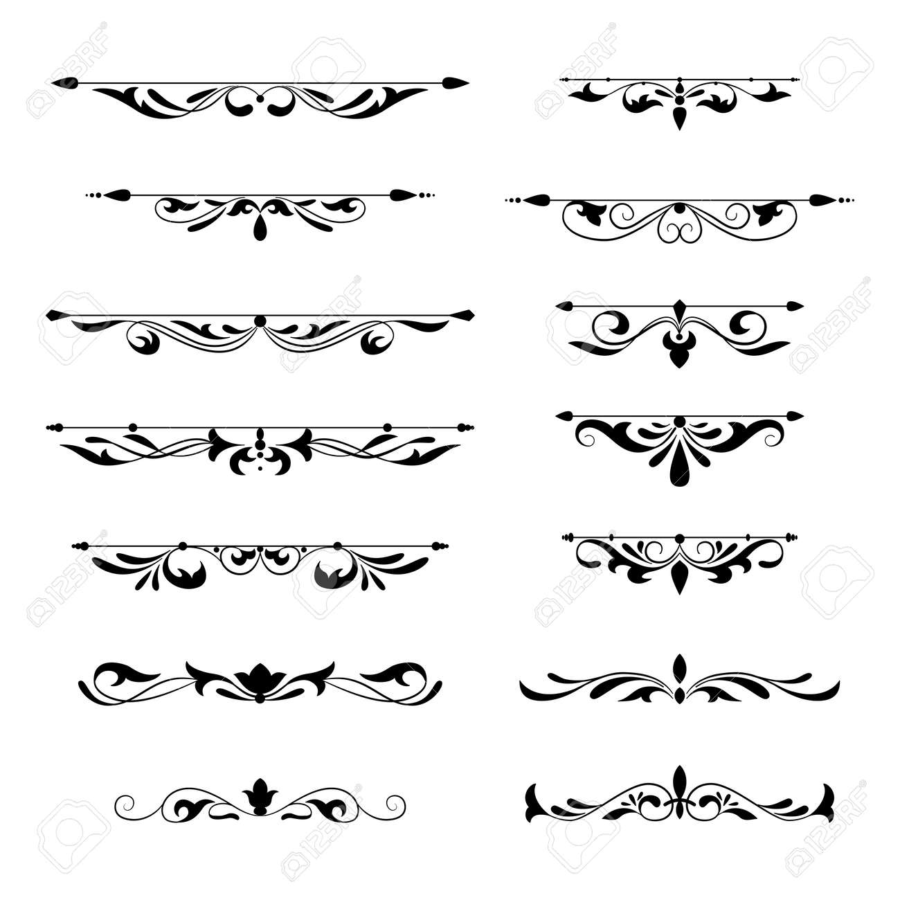Floral decorative design element collection vintage style. Dividers set. Traced by hand from own sketch. - 94796265