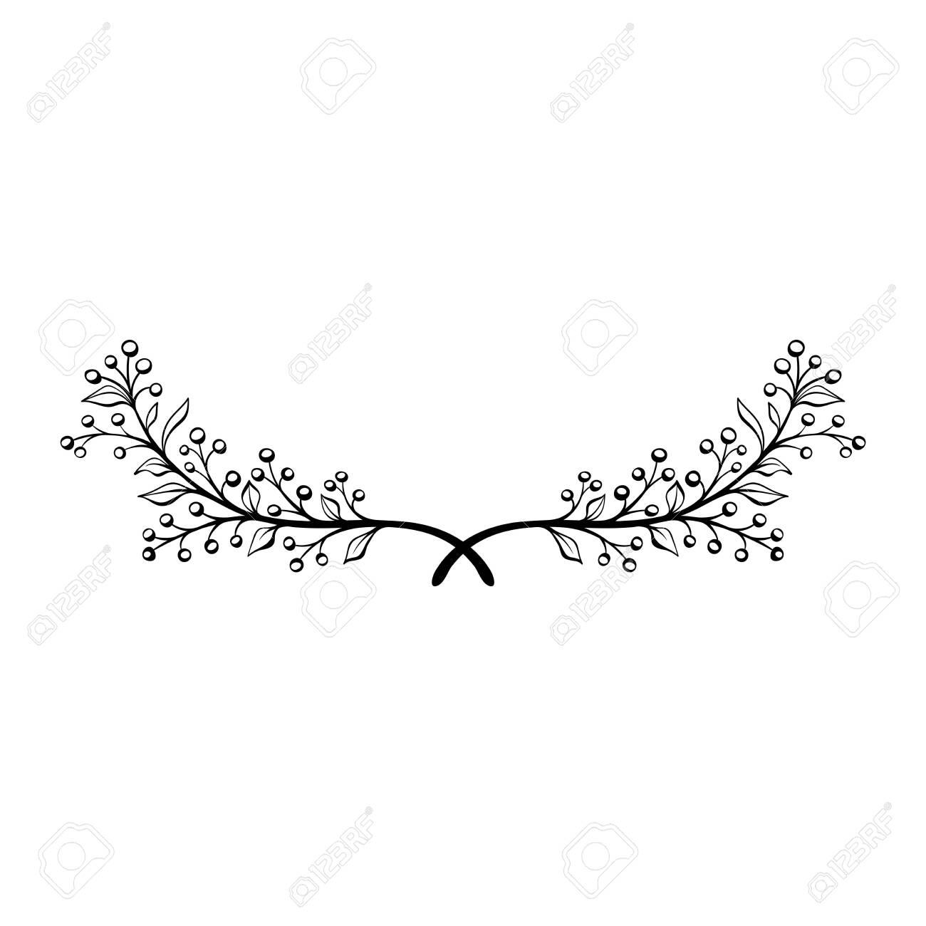Hand drawn doodle floral wreath. Decorative element. Floral divider. Rustic laurel - 130124224