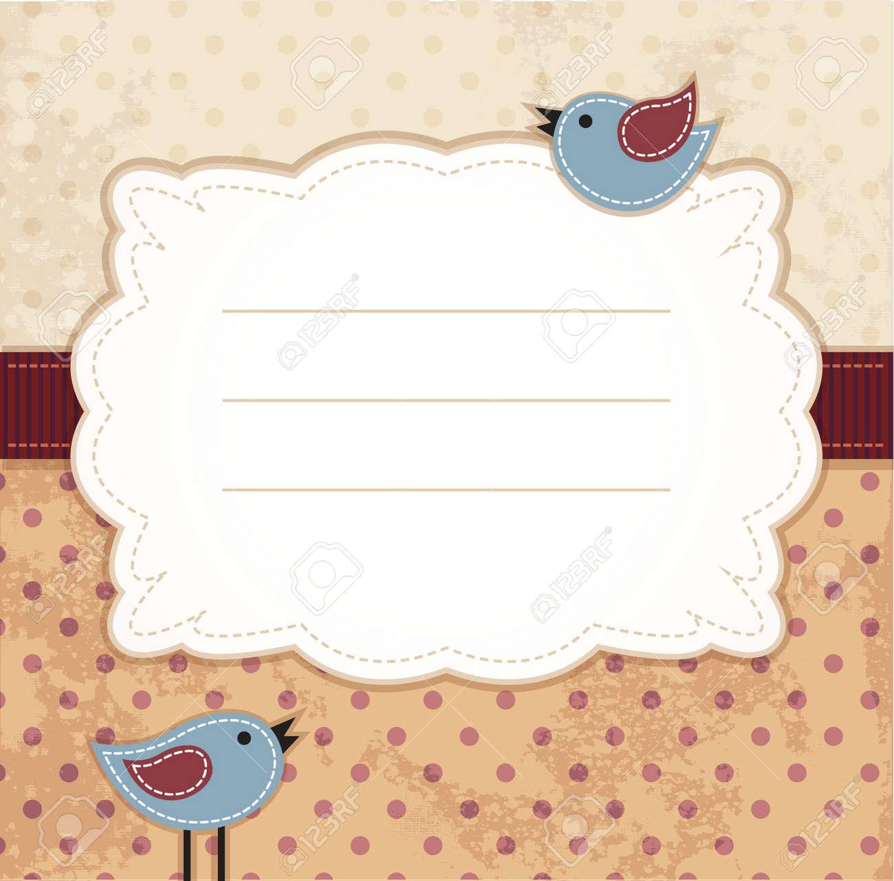 Rahmen Mit Blauen Vögel Auf Gepunktete Hintergrund Lizenzfrei ...