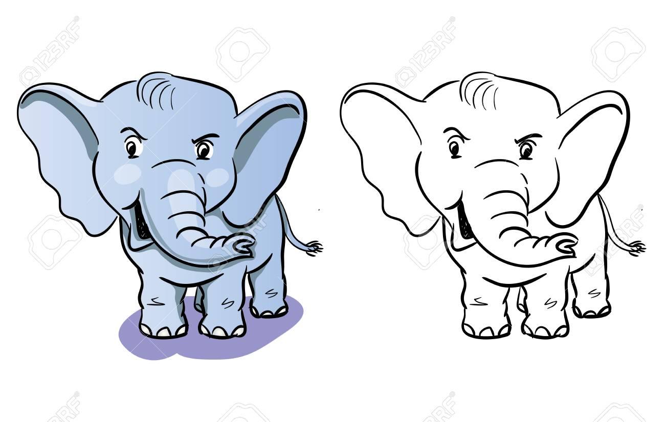 Colorear Elefante De Dibujos Animados Libro Para Colorear Para