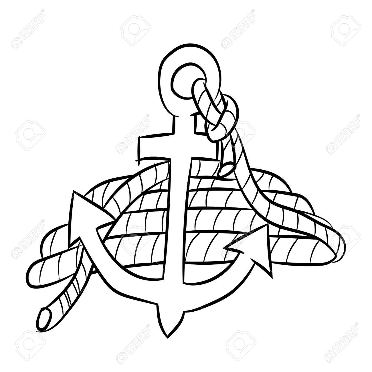 Croquis Dessiné Main Dancre De Mer Isolé Avec Une Corde Noir Et